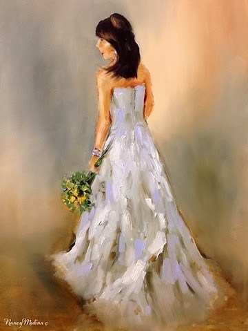 """Chocolate, Diamonds, Cupcakes, and Wedding Gowns - Oh My! - in Flower Mound Studio by Nancy Medina"" original fine art by Nancy Medina"