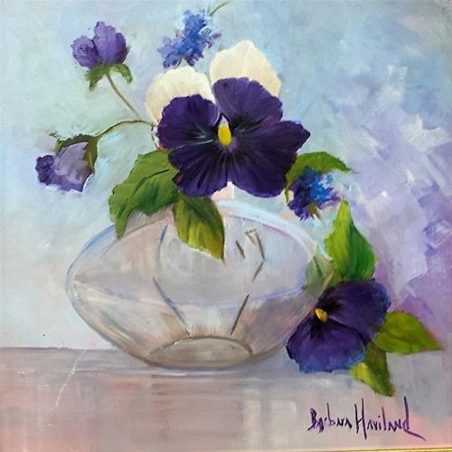 """Still Life of Pansies  In Glass"" original fine art by Barbara Haviland"