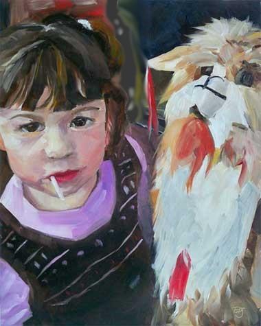 """""""Melina and the Llama"""" original fine art by Elizabeth Dawn Johnston"""