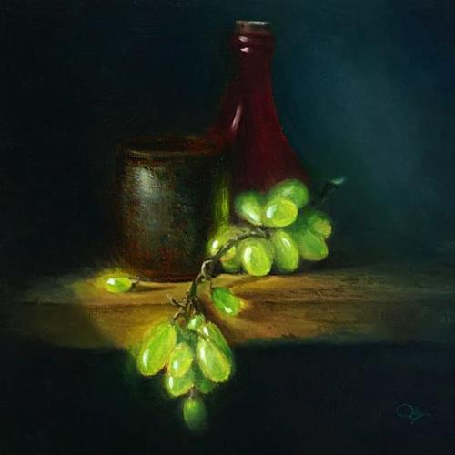 """green grapes"" original fine art by David Cochin"