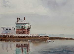 """""""Seaside Restaurant"""" original fine art by Peggy Bishop"""