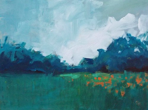 """Orange Blooms in Meadow"" original fine art by Pamela Munger"