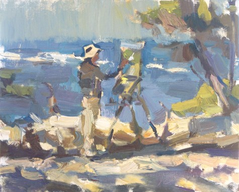 """Painting in California 22 Thomas Kitts paints his winning painting"" original fine art by Roos Schuring"