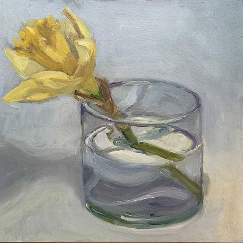 """A Glass with daffodil"" original fine art by Merle Manwaring"