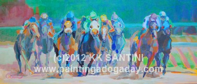 """And Down the Stretch They Come !!"" original fine art by Kimberly Santini"