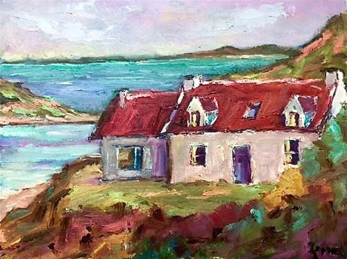 """Red Roofed Cottages by the Loch"" original fine art by Liz Zornes"