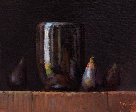 """Still life with Handmade Cup and Three Spring Figs"" original fine art by Abbey Ryan"