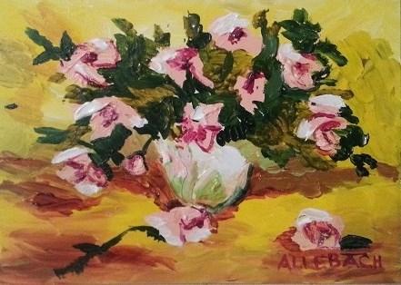 """""""Pink Flowers"""" original fine art by Jo Allebach"""