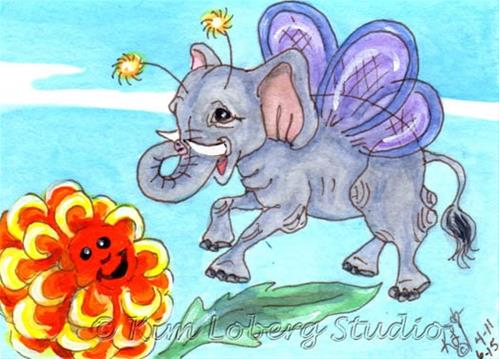 """Elephant Fly & Zinnia"" original fine art by Kim Loberg"