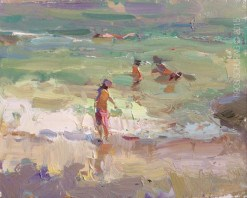 """Seascape Plein air Turquoise water and Light Moves"" original fine art by Roos Schuring"