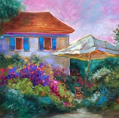 """Hidden Hearts French Garden - Flower Painting Classes and Workshops by Nancy Medina Art"" original fine art by Nancy Medina"