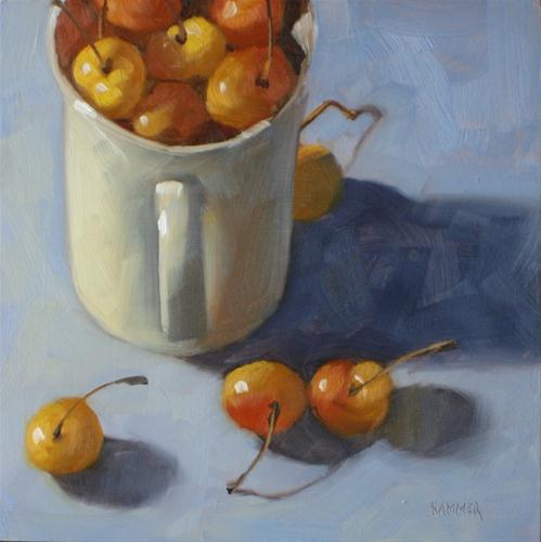 """One cup of cherries 6x6  oil on board"" original fine art by Claudia Hammer"