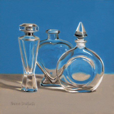 """Three Perfume Bottles"" original fine art by Nance Danforth"