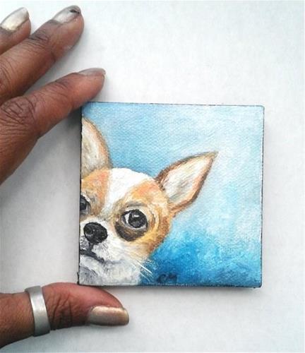 """""""Peek a Boo Chihuahua """" original fine art by Camille Morgan"""