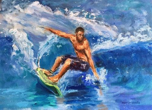 """The Surfer Dude"" original fine art by Thea Lombaard"