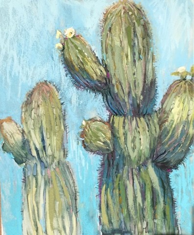 """Painting in the Desert ... The Saguaros"" original fine art by Karen Margulis"