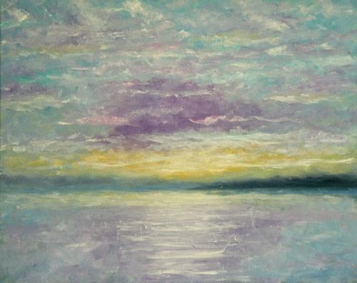 """Lavender and Gold Sunset"" original fine art by Sunny Williams"