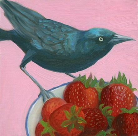 """Grackle with strawberries"" original fine art by Jean Wilkey"