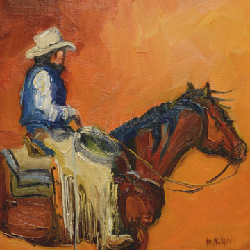 """COWBOY ART OIL PAINTING DAILY PAINTING D WHITEHEAD NOVEMBER 9"" original fine art by Diane Whitehead"