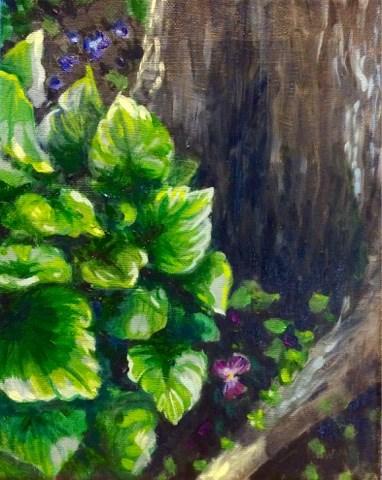"""Purple pansy by the tree"" original fine art by Hilary J. England"