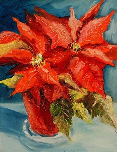 """Pointsettia Sunrise_12 x 9 Oil_Still Life"" original fine art by Donna Pierce-Clark"