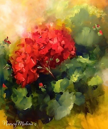 """Red Geraniums, a Haunted House and Evening Fireflies by Floral Artist Nancy Medina"" original fine art by Nancy Medina"