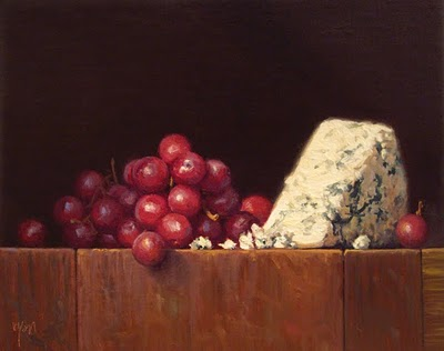 """Still Life with Grapes and Bleu Cheese (larger painting)"" original fine art by Abbey Ryan"
