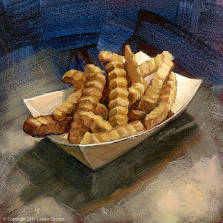 """Crinkle Fries"" original fine art by Lesley Spanos"