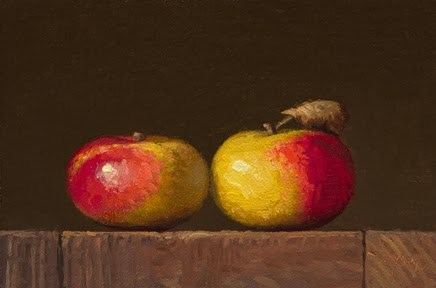 """Two Lady Apples  (+ the Full Story for My Live Painting Demo this Friday)"" original fine art by Abbey Ryan"