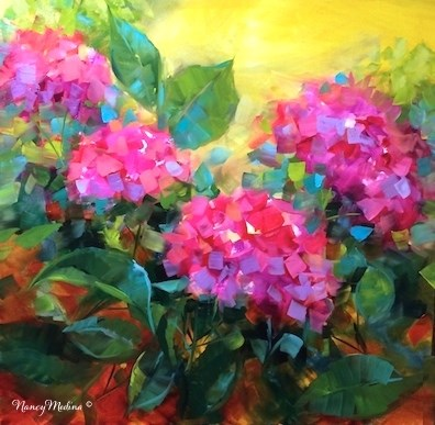 """Summertime Dreams Hydrangeas and a New France Workshop - Flower Paintings by Nancy Medina"" original fine art by Nancy Medina"
