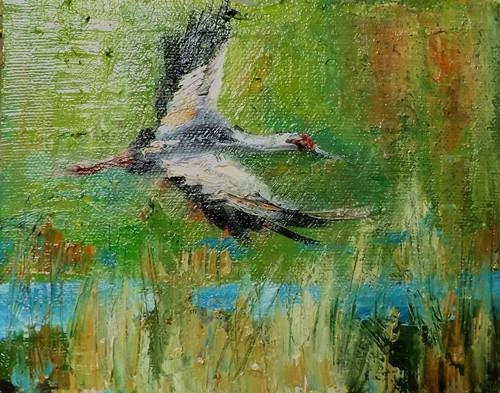 """RED-CROWNED CRANE,N10"" original fine art by Run-      Zhang Zane"