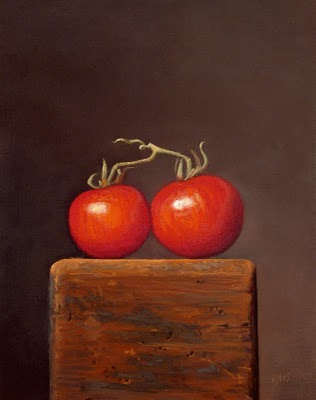 """Vine Tomatoes on a Wood Block"" original fine art by Abbey Ryan"