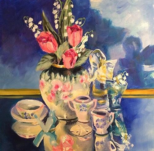 """My Mother's Treasures, 12 x 12 Oil, Still Life"" original fine art by Donna Pierce-Clark"