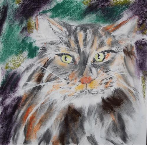 """Green Eyed Cat"" original fine art by Donna Crosby"
