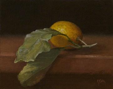 """""""Italian Lemon with Leaves"""" original fine art by Abbey Ryan"""