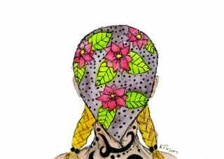 """Tattooed Girl with a Bandana"" original fine art by Kali Parsons"