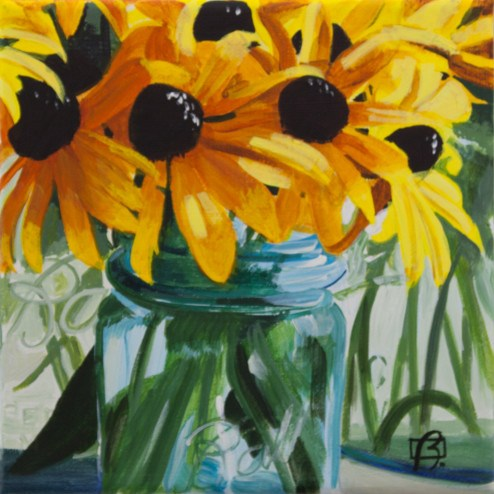 """Flowers in Ball Jar"" original fine art by Andre Beaulieu"