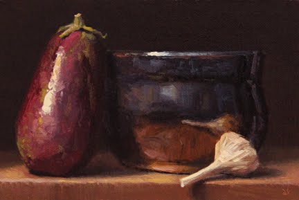 """Still Life with Eggplant and Garlic"" original fine art by Abbey Ryan"