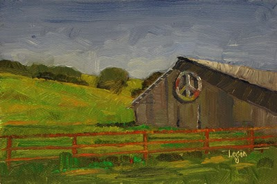 """Gaviota Peace Barn"" original fine art by Raymond Logan"