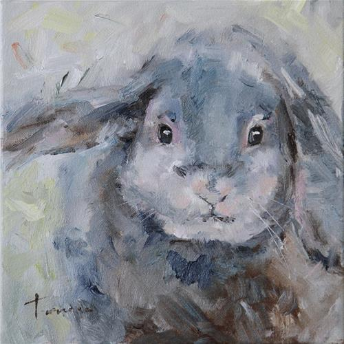 """Rabbit - Oil Painting"" original fine art by Teresa Yoo"