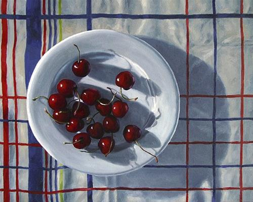 """Cherry Plate on Plaid Cloth"" original fine art by Nance Danforth"
