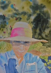 """Sept 16:  Garden Celfie"" original fine art by Dana Richards"