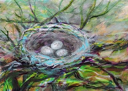 """3080 - Framed - LIFE WITHIN NEST"" original fine art by Sea Dean"