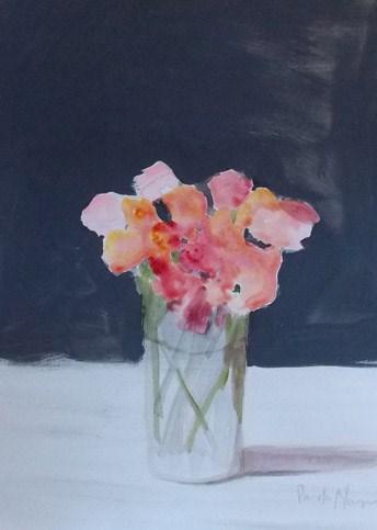 """Pink on Grey"" original fine art by Pamela Munger"