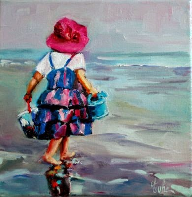 """La petite fille sur la plage - SOLD -"" original fine art by Evelyne Heimburger Evhe"