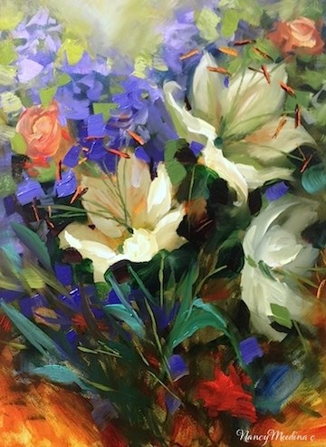"""""""Iris and Ranunculus and Your French Painting Invitation - Flower Paintings by Nancy Medina"""" original fine art by Nancy Medina"""