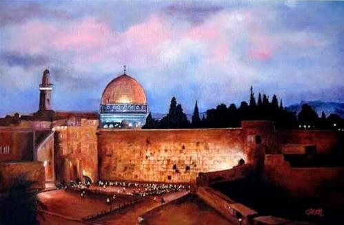 """Old City of Jerusalem at night"" original fine art by Cheryl Abling"