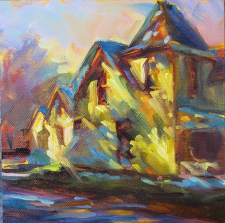 """Dappled House"" original fine art by Karen Bruson"