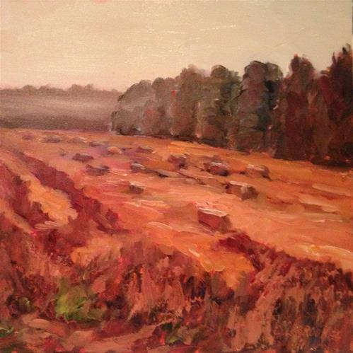 """Hay Bales and Morning Fog, Day 37"" original fine art by Claudia L Brookes"