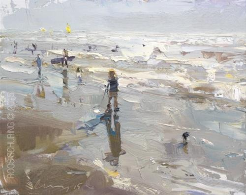 """Seascape Pleinair ""Evening shine Shoreline – Boy and surfers"""" original fine art by Roos Schuring"